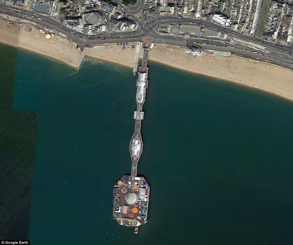 Brighton Pier juts out from