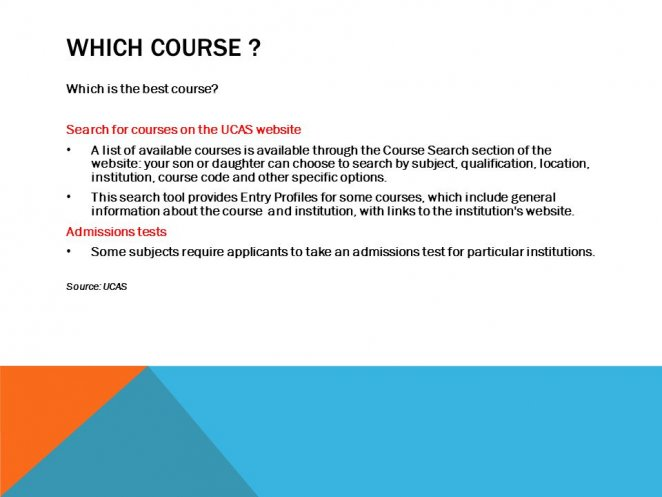 Search for courses on the UCAS