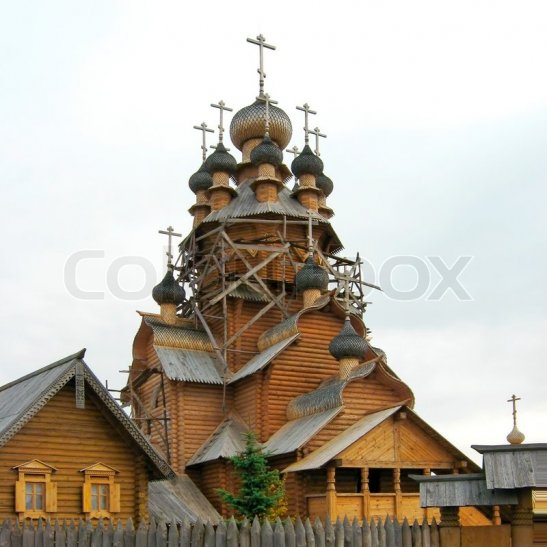 Stock image of Wooden church
