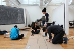 students working on a line-drawing project