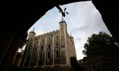 The White Tower seen at the Tower of London.
